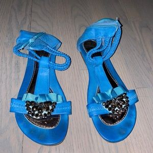 Blue Ankle Strap Sandals